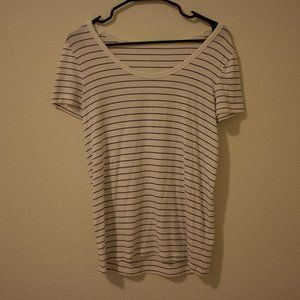 White and black striped tee